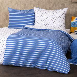 4Home Bavlněné povlečení Pruhy modrá, 220 x 200 cm, 2 ks 70 x 90 cm