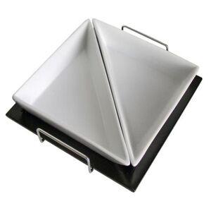 TORO 590053 Sada trojúhelníkových misek, 2 ks, bílá, černá, dřevo, keramika