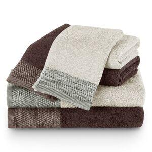 AmeliaHome Sada ručníků a osušek Aria béžová/hnědá