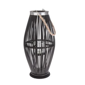 Bambusová lucerna se sklem Delgada tmavě hnědá, 49 x 24 cm