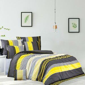 BedTex Bavlněné povlečení Zigo žlutá, 140 x 200 cm, 70 x 90 cm