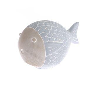 Betonová ryba modrá, 15 cm