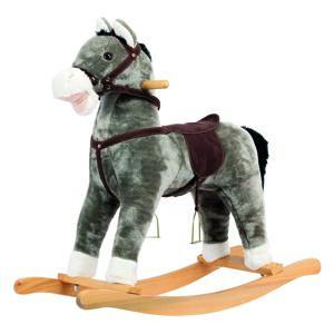 Bino Plyšový houpací kůň šedá, 64 x 30 x 74 cm