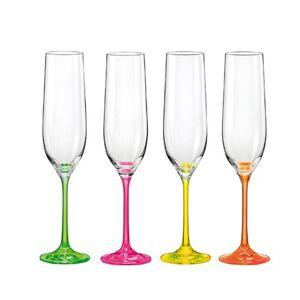 Crystalex 4dílná sada sklenic na šampaňské neON, 190 ml