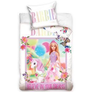 Tiptrade Dětské bavlněné povlečení do postýlky Barbie a Jednorožec, 100 x 135 cm, 40 x 60 cm