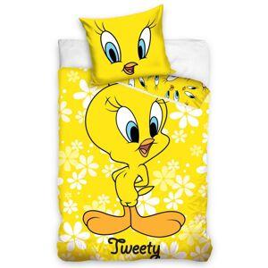 Tiptrade Dětské bavlněné povlečení do postýlky Tweety žlutá, 100 x 135 cm, 40 x 60 cm