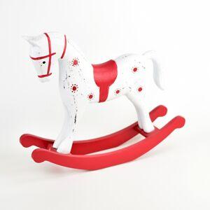 Dřevěná dekorace Houpací kůň, 26,5 x 6,5 x 23 cm, červená