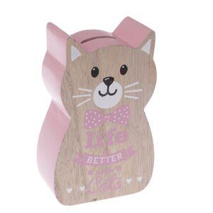 Dřevěná kasička Kočka, růžová, 10 x 16 x 5 cm