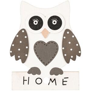 Dřevěná závěsná sova Home, 13 x 17 x 3 cm