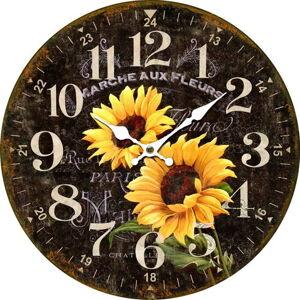 Dřevěné nástěnné hodiny Marche aux fleurs, pr. 34 cm