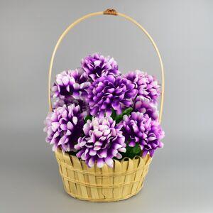 Dušičkový košík zdobený Chryzantéma 20 x 30 cm, fialová