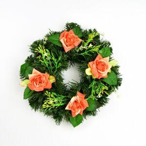 Dušičkový věnec s oranžovými růžemi, 25 cm