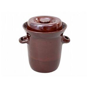 Zelák MORAVA s víkem keramický hnědý 23l