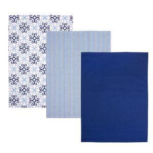Orion Kuchyňská utěrka Blue Shapes, 50 x 70 cm, sada 3 ks