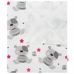 New Baby Nepromokavá flanelová podložka Cute Teddy růžová, 57 x 47 cm