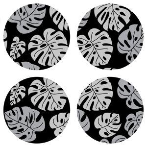 AG Art Podložka pod hrnek Black Leaves, kulatá, pr. 10 cm, sada 4 ks