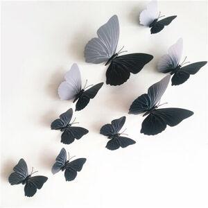 Samolepicí 3D motýlci s magnetem černá, 12 ks