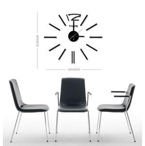 Samolepicí nástěnné hodiny černá, HM-10E028