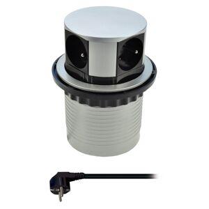Solight PP100 Výsuvný prodlužovací blok se 4 zásuvkami, stříbrná