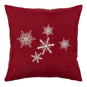 BO-MA Trading Vánoční povlak na polštářek Vločky červená, 40 x 40 cm