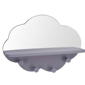 Věšák se zrcadlem šedá, 39 x 8,5 x 27 cm